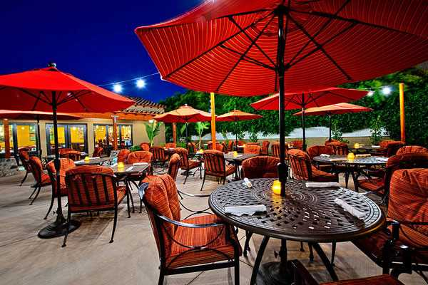 The patio at Los Arboles Restaurant and Bar, Palm Springs