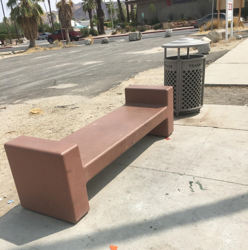 A before shot of the plain brown benches have been transformed by local artists.